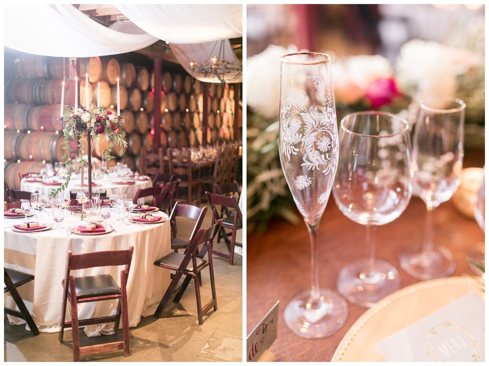 champagne glasses at a destination Napa wedding at V. Sattui Winery wedding