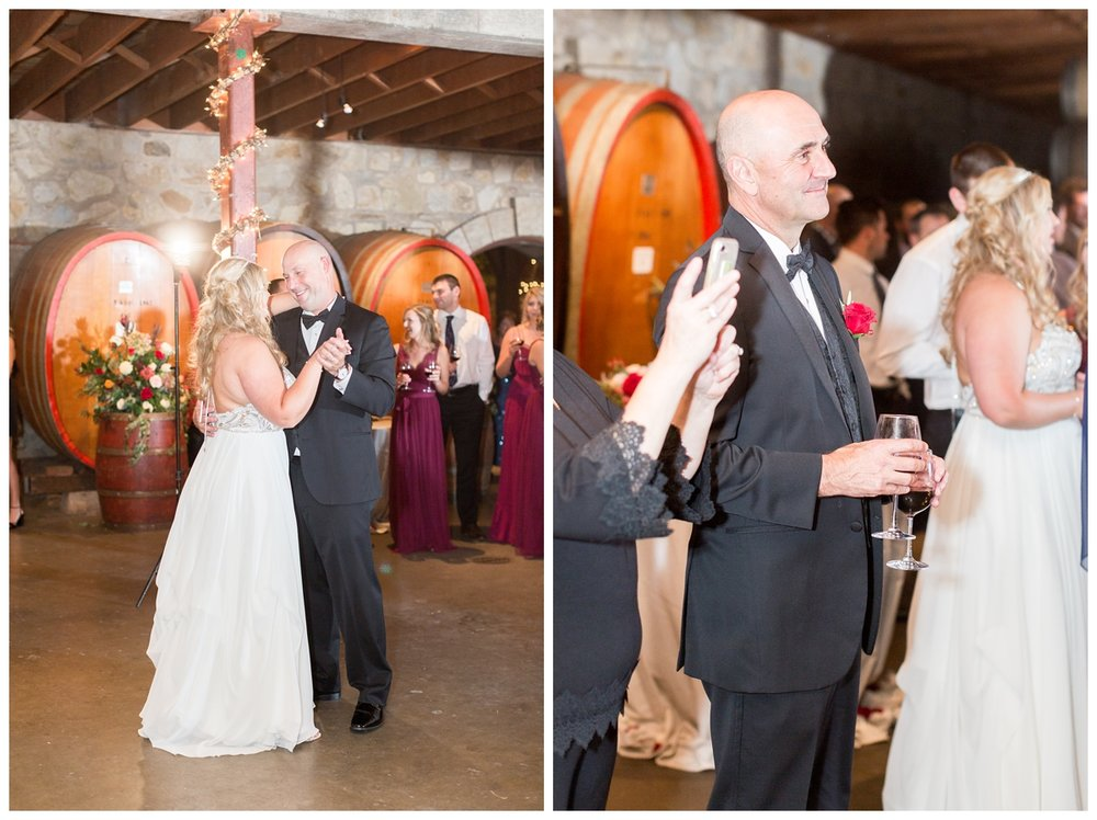 wedding toasts given at an elegant indoor wedding reception at V. Sattui winery in Napa Valley taken by a destination wedding photographer
