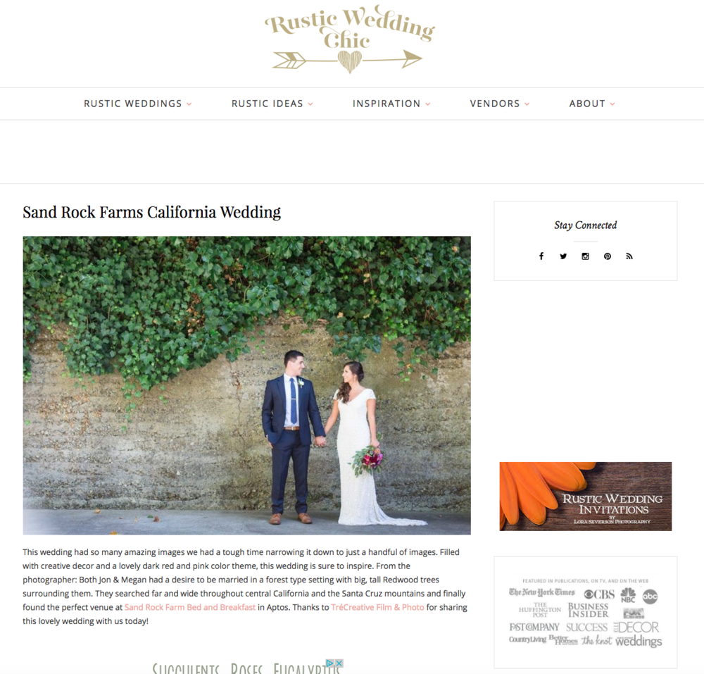 Featured on Rustic Wedding Chic - Sand Rock Farms California