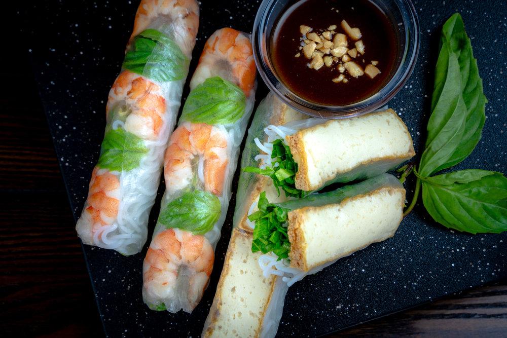 Shrimp/ Tofu Fresh Summer Rolls with Creamy Peanut Sauce