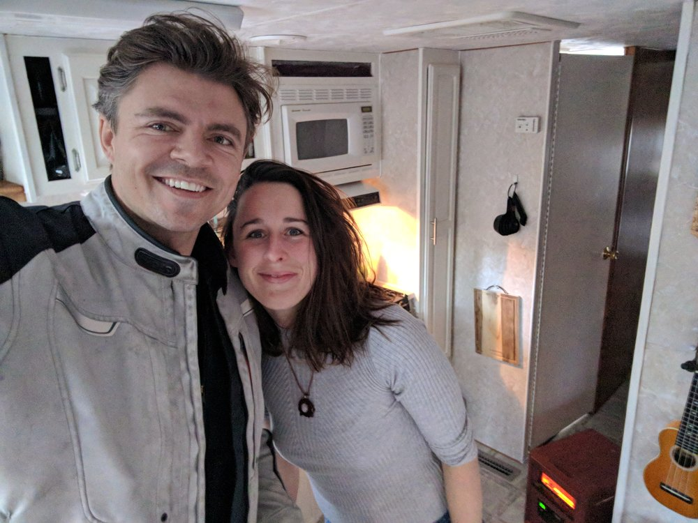 Josh and Mary in Mary's trailer
