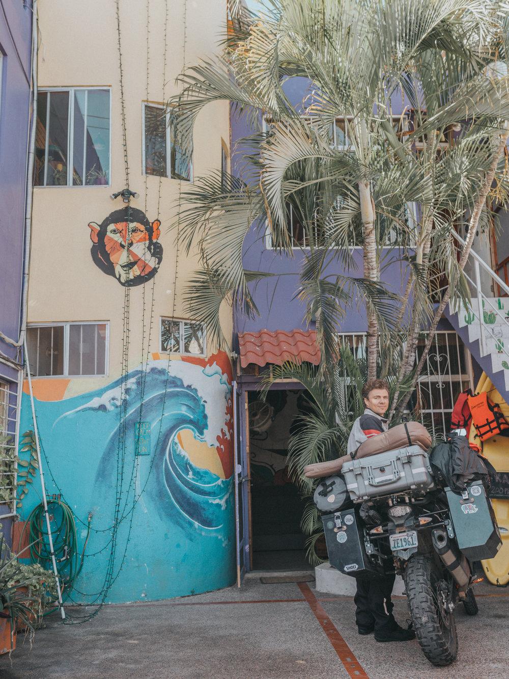 Outside our hostel in Mazatlan, Funky Monkey Hostel.