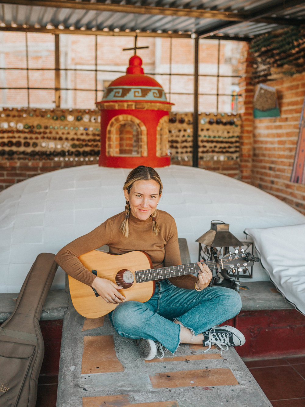 Rachel playing guitar at our hostel in Guanajuato.