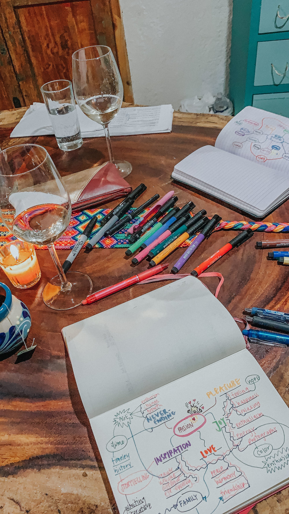 Mind Mapping: one of the many ways we try to connect with ourselves, eachother, and our creativity while we travel.