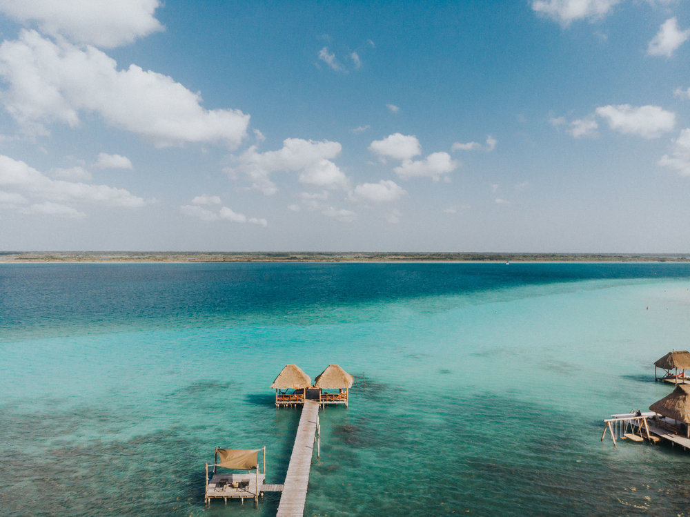 View from our dock in Bacalar, Mexico