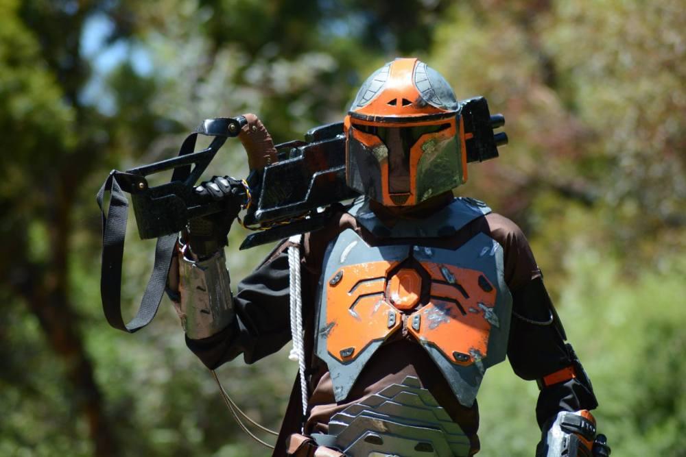 Antony Newland in his custom Mandalorian armour, photo by Michael Zubrinich.