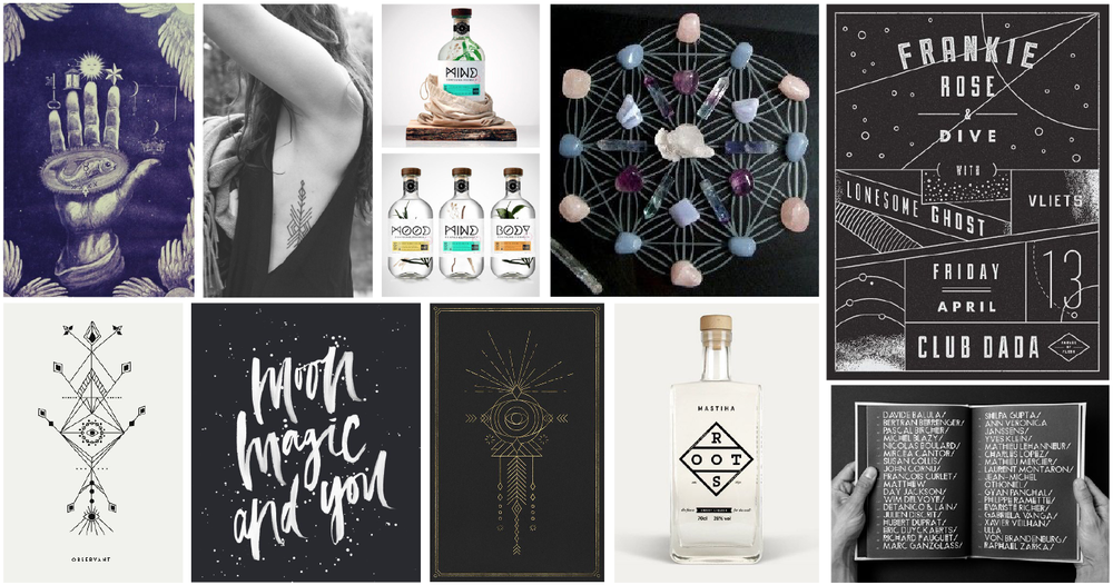 The chosen moodboard sets the tone for a mystical direction.