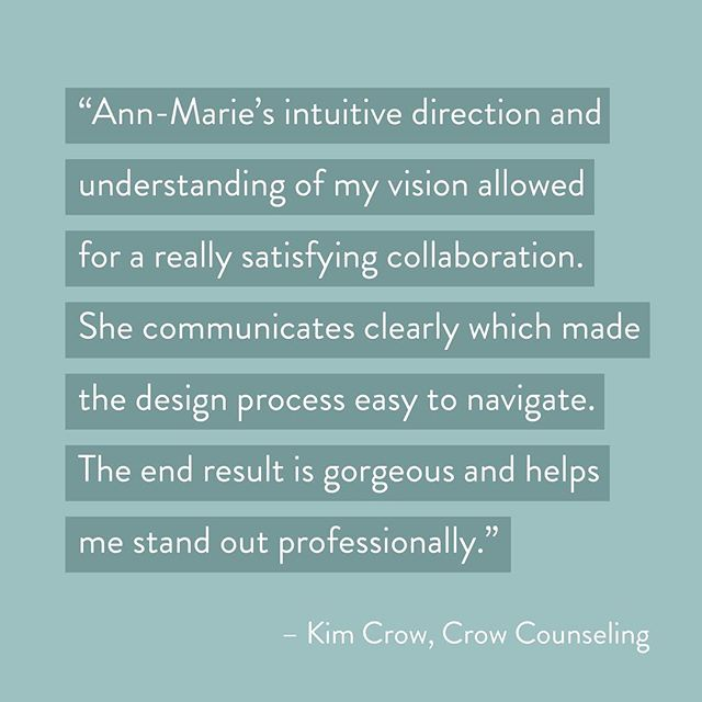 Kind words from @crowcounseling! Working collaboratively one-on-one with my clients is incredibly rewarding and creatively satisfying — I love what I do!  Find out more at http://finkastudio.com