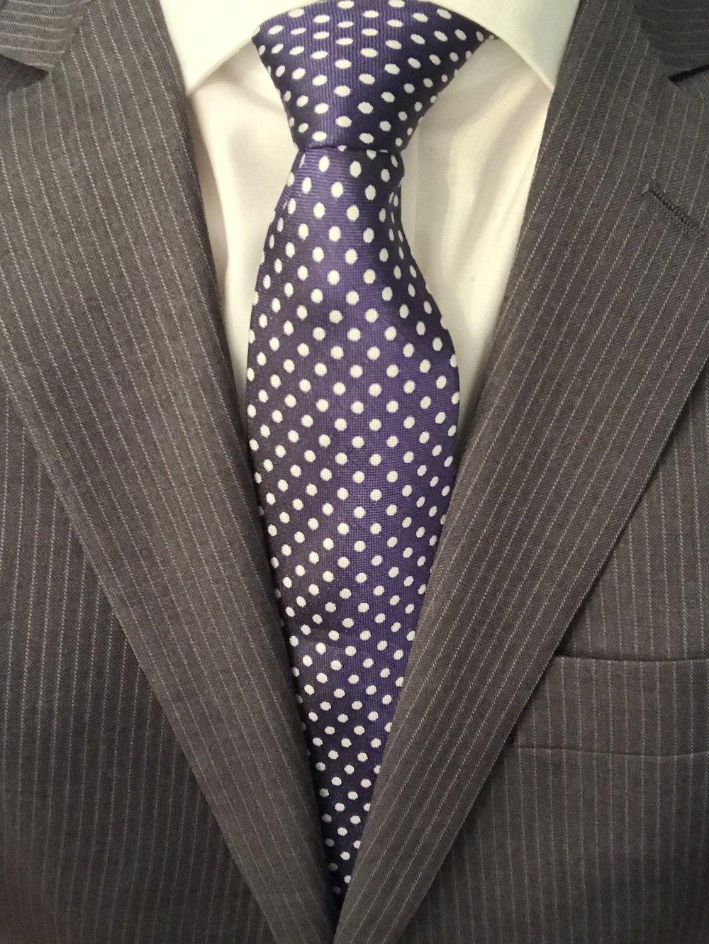 Charles Tyrwhitt navy and white silk classic Oxford spot tie