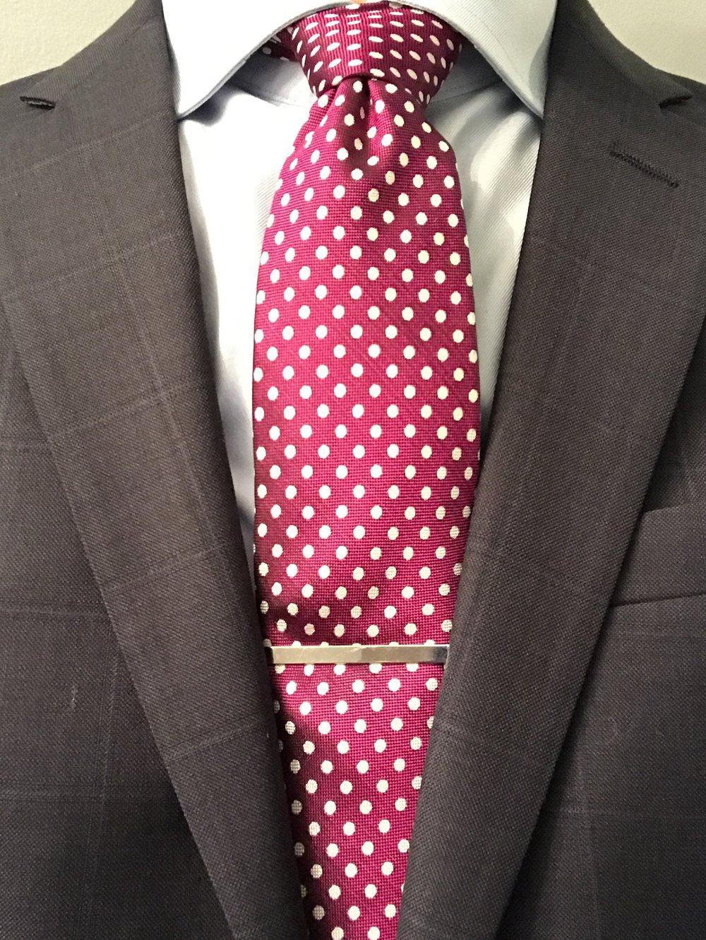 Charles Tyrwhitt magenta and white silk classic Oxford spot tie
