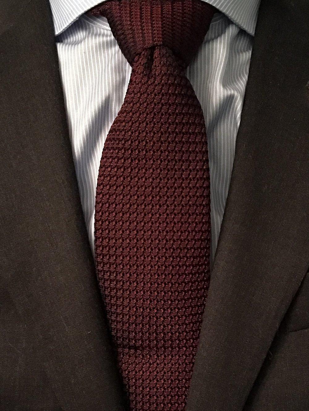 Charles Tyrwhitt burgundy silk plain grenadine Italian luxury tie