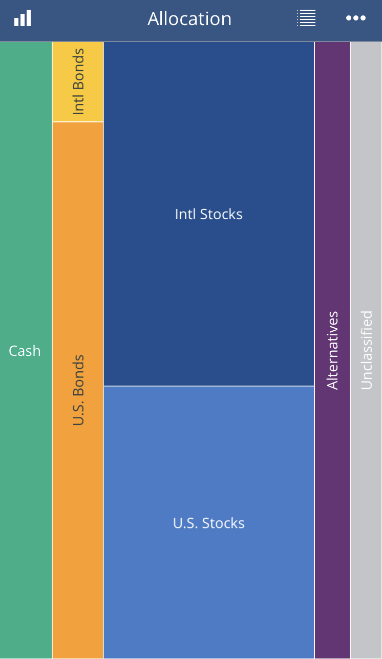 Charts like this asset allocation let you visualize how your assets are distributed and let you drill down into them.