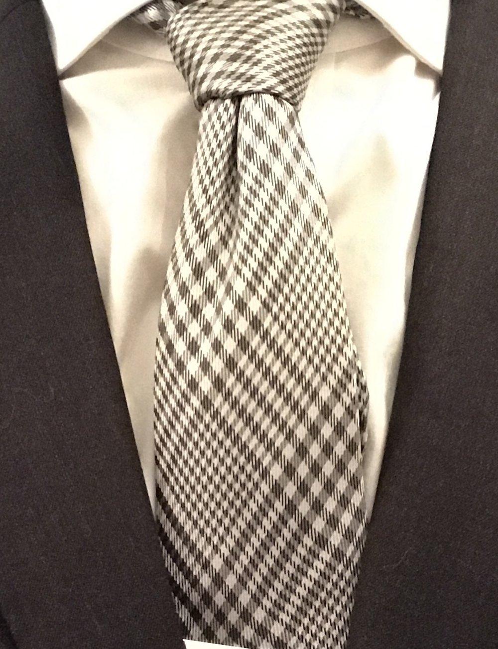 Charles Tyrwhitt grey silk classic Prince of Wales check tie