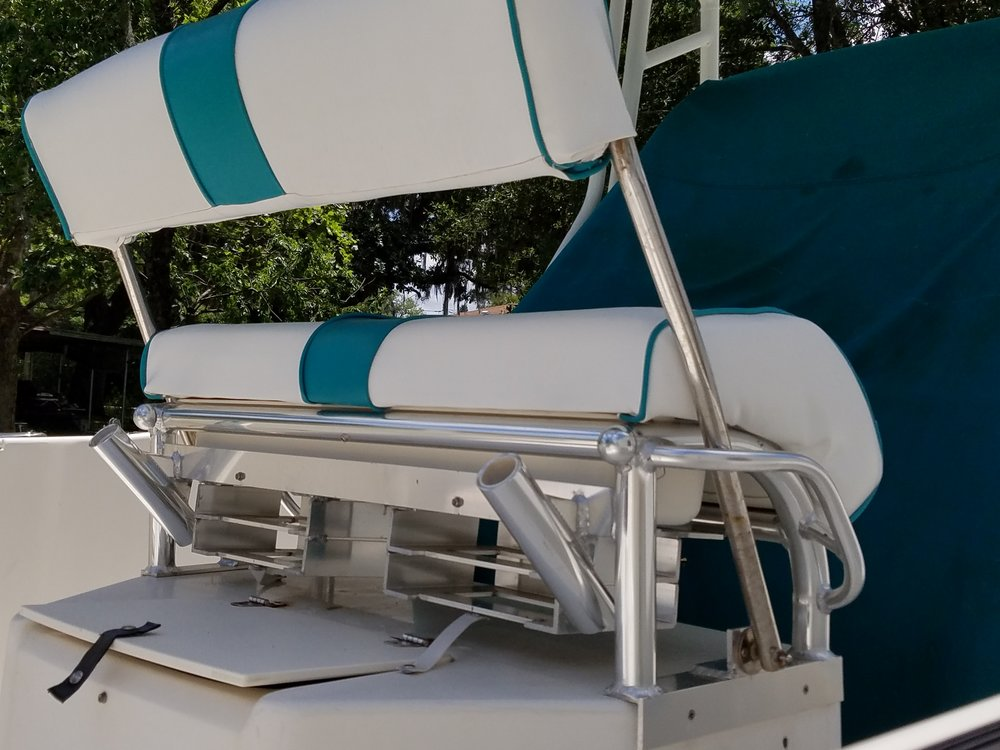 Boat seat with storage.