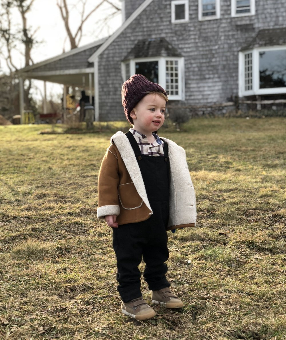 It thats not a pose from a baby blogger, I don't know what is!  The coat Lewis is wearing was thrifted. but its gap   This is a faux shearling option I found on there website currently
