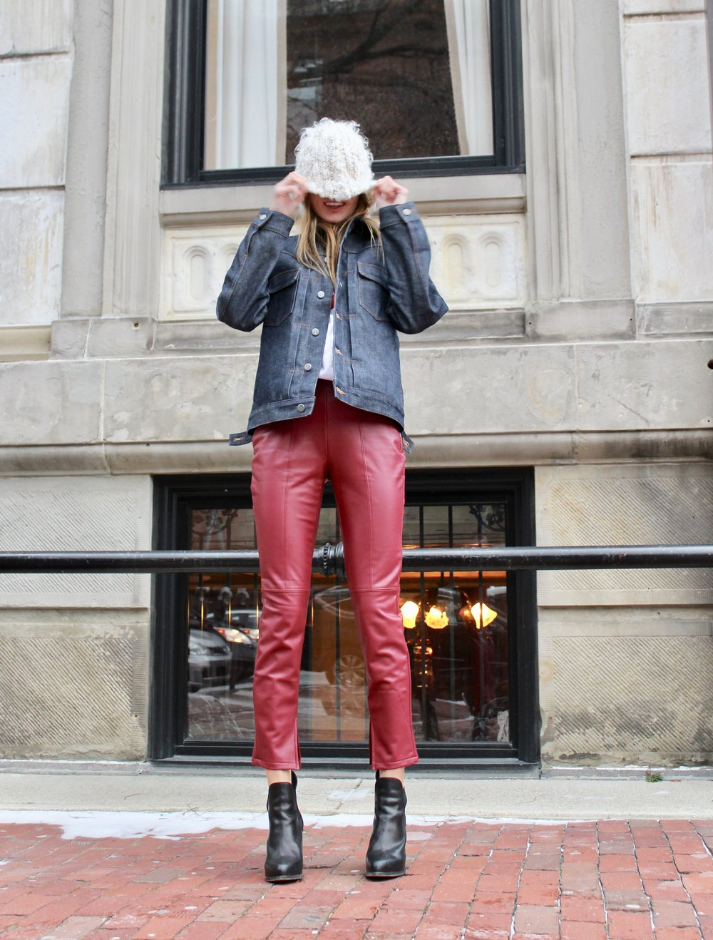 And last but not least!   These RED faux leather pants are.... TARGET .. Im wearing a small but I wish I would have gone for an xs. Im usually a 25 waist and they are a little big on me.   Shoes are rag and bone I can't find exact ones because these are so old, but click link for some cute options. Also rag and bone boots last very long.I used to wear mine everyday in NYC  Hat is free people from forever ago