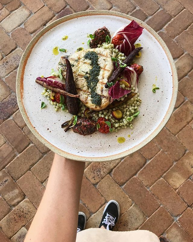 This week's tasty market fish! Pan fried sword fish with herbed couscous, spiced carrots, semi dried tomatoes and a red pepper and hazelnut tapenade 👏🏼👏🏼👏🏼