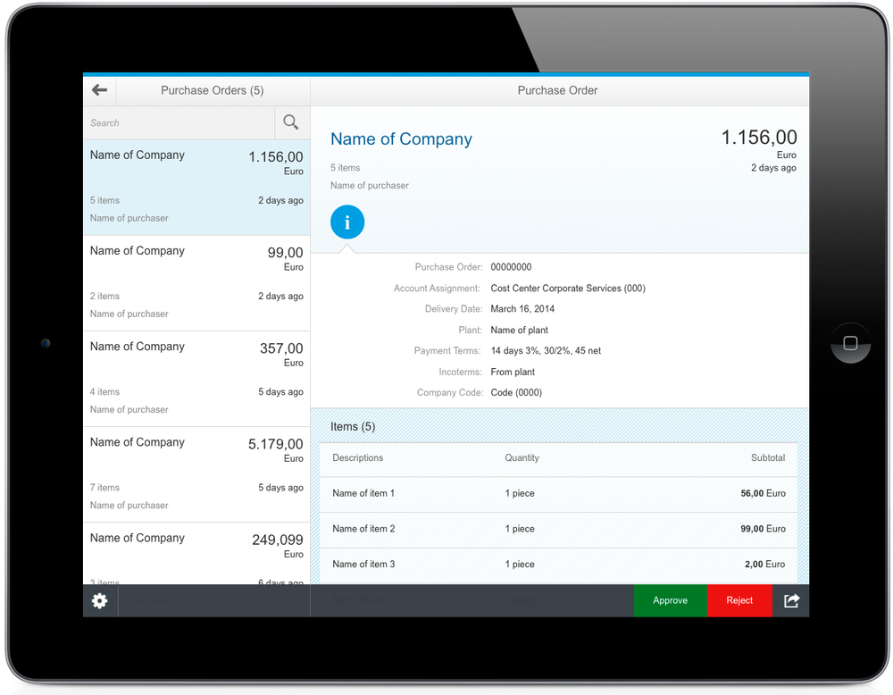 SAP Fiori Master Detail View