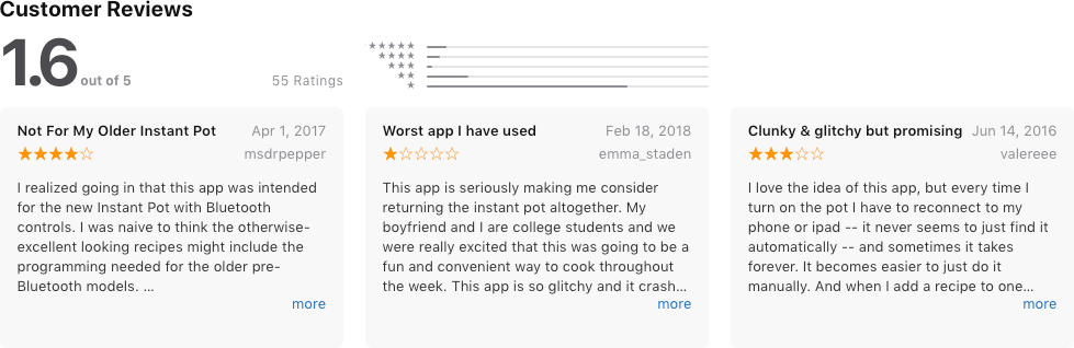 Customer Reviews of the Instant Pot App in the iTunes Store