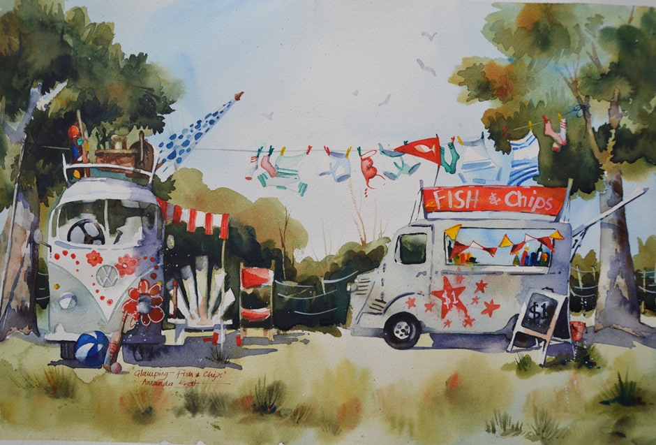Fish and Chips  Amanda Brett, watercolour on artist paper, framed in white, 770mm x 570mm (inc. frame)  sold