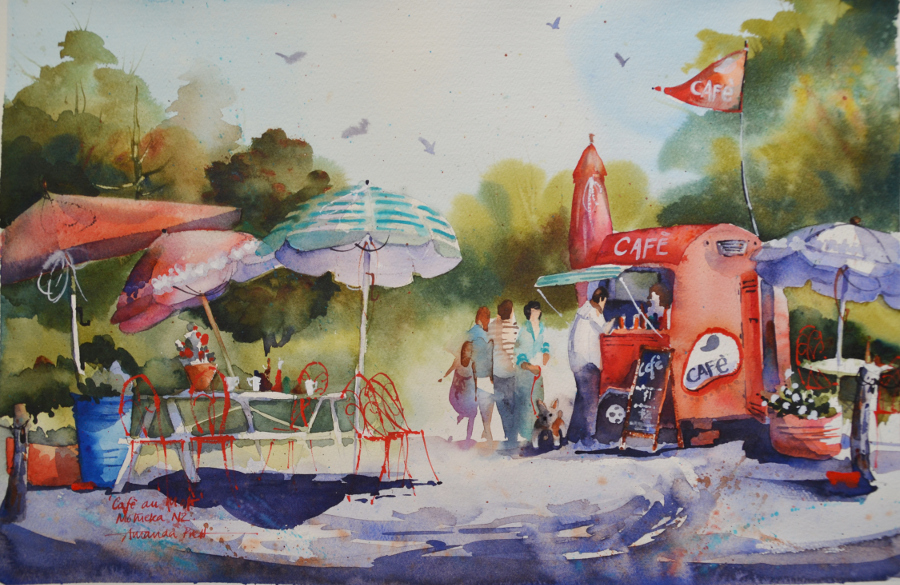Cafe au Mot  Amanda Brett, watercolour on artist paper, framed in white, 770mm x 570mm (inc. frame)  $1,100.00