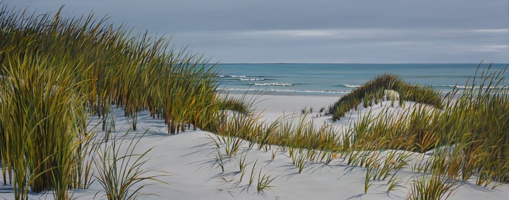 Moody Dunes  Shirley Cresswell, acrylic on canvas, 610mm x 1530mm  sold