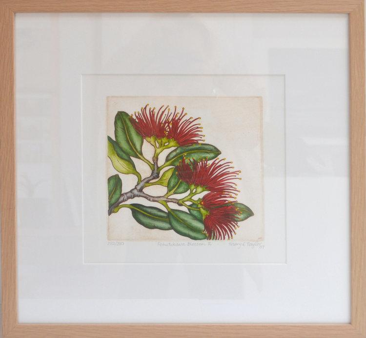 Pohutukawa Blossom II  Mary Taylor, framed print, 465mm x 470mm  $400.00