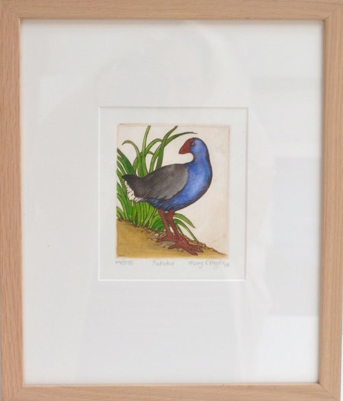 Pukeko  Mary Taylor, framed print, 310mm x 380mm  $210.00