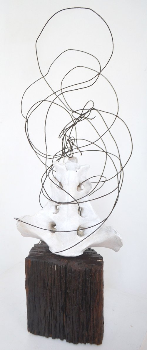 In a Whirl  Jo Ann Farnell, wire, bone & wood,   $1150.00