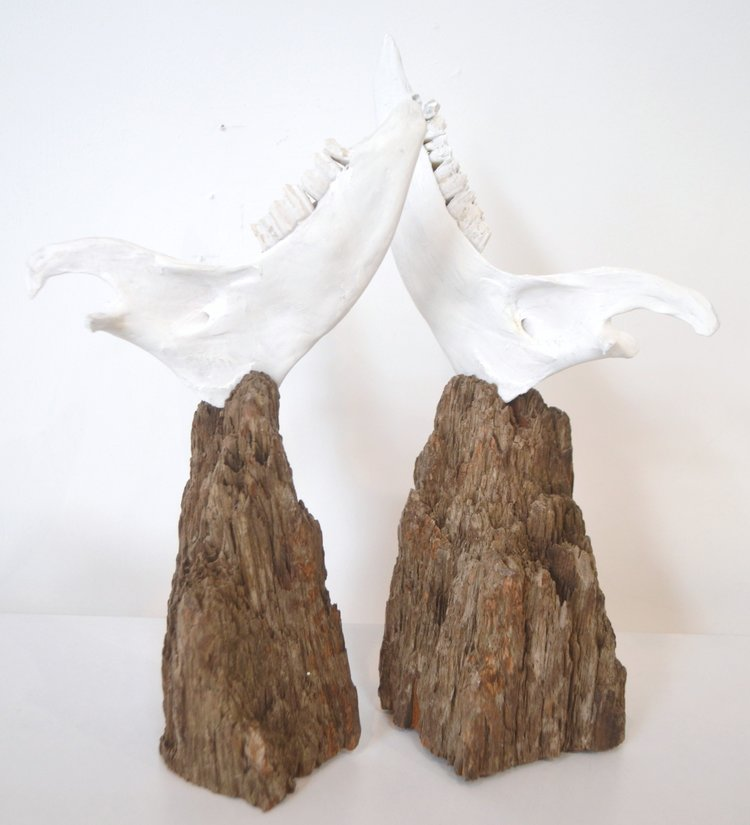 Peace I & II  Jo Ann Farnell, wood & bone  $175.00 ea