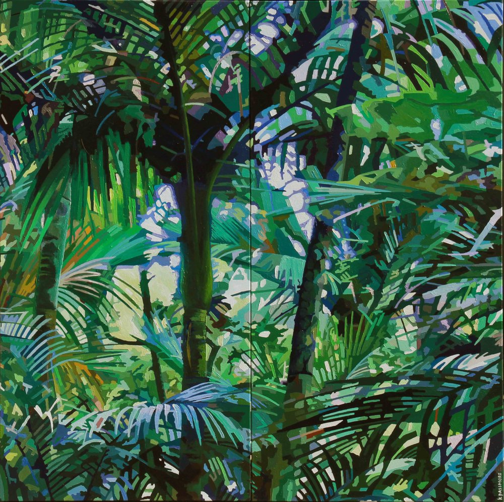 Bush Whispers IV  Kevin Passmore, acylic diptych on canvas, 1515mm x 1520mm (total)  $4,950.00