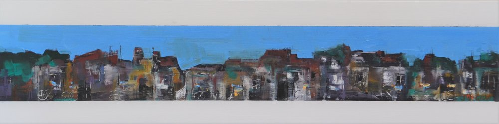 Blue Sky Bicycle Race  Jennie De Groot, oil on wood, 650mm x 150mm  $690.00