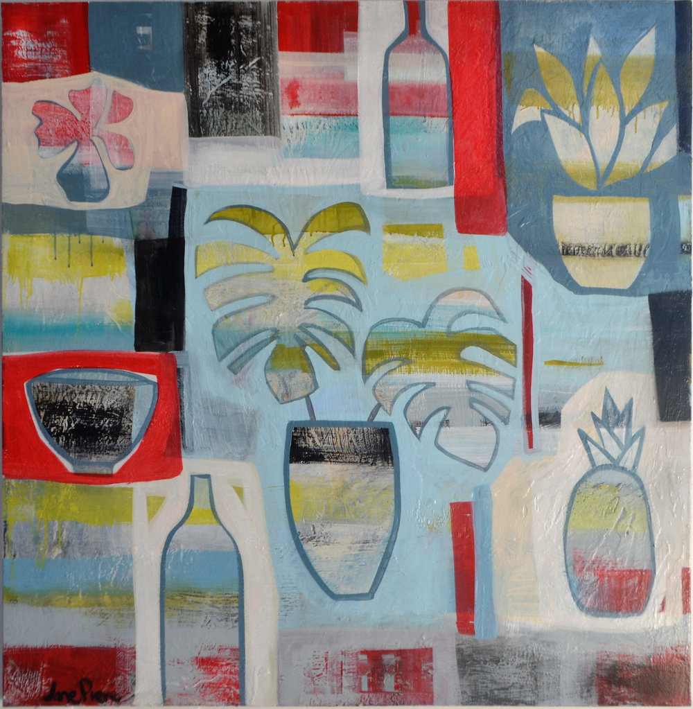 Tropicana  Jane Pierce, acrylic on canvas, 1210mm x 1210mm  $3,500.00