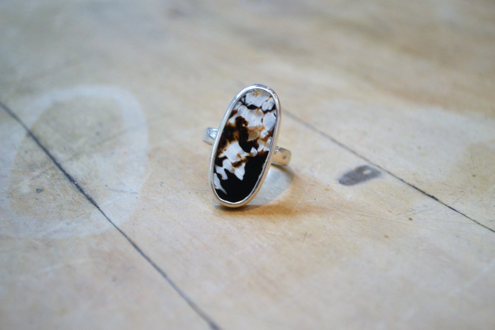 Oval Multistone Ring (dark)  925 sterling silver and polished stone, size large  $70.00