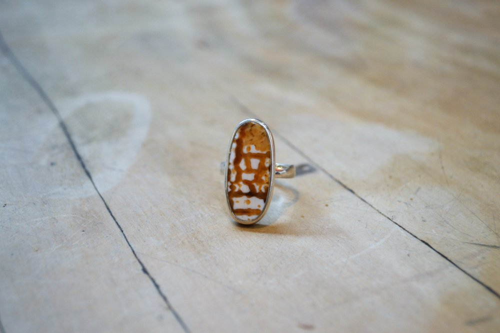 Oval Multistone Ring (light)  925 sterling silver and polished stone, size large  $70.00