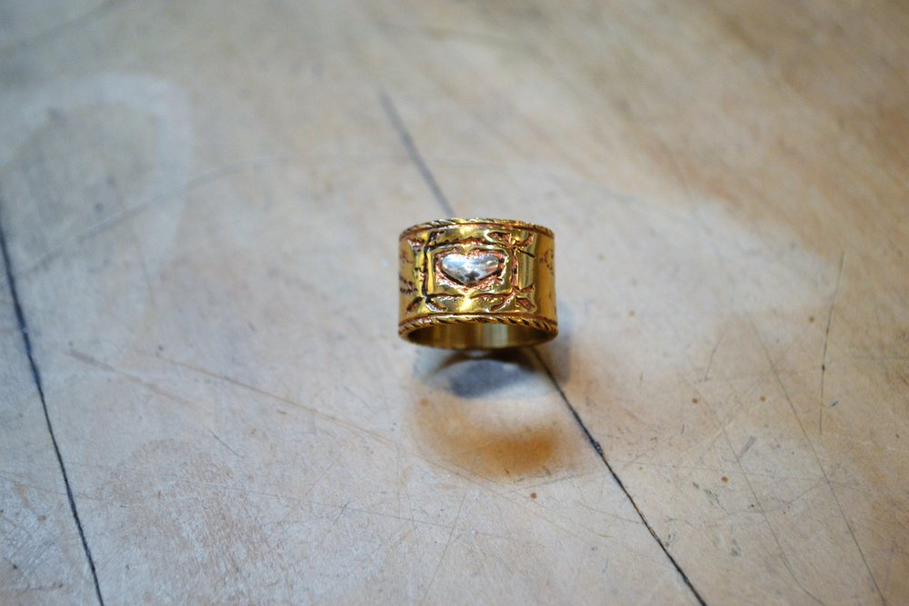 Brass Band Ring with Heart  Fretwork Collection #74, brass and 925 sterling silver, size medium  $100.00