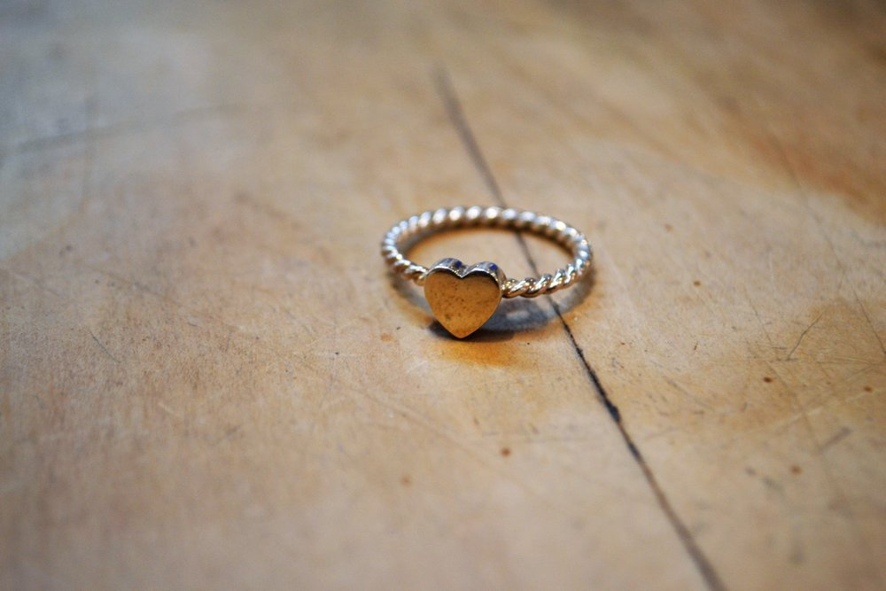 Heart Spacer Ring  Fretwork Collection #14, 925 sterling silver, size medium  $90.00