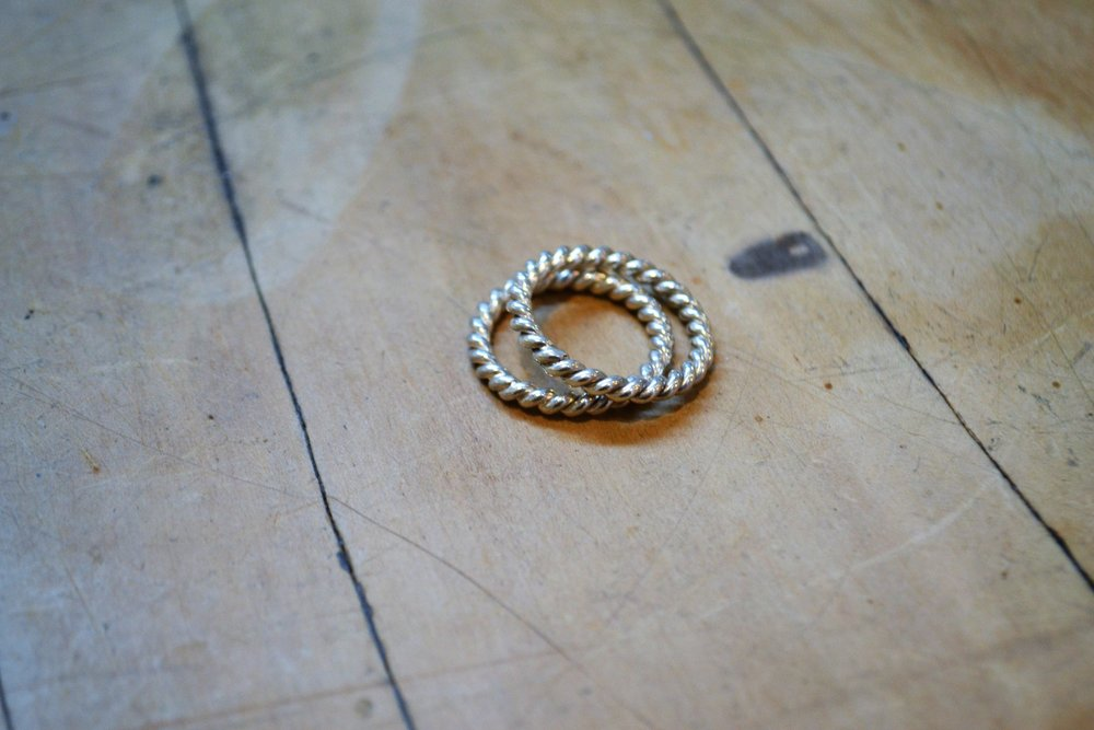 Woven Spacer Ring (2 available)  Fretwork Collection #15, 925 sterling silver, size m/l  $36.00 ea