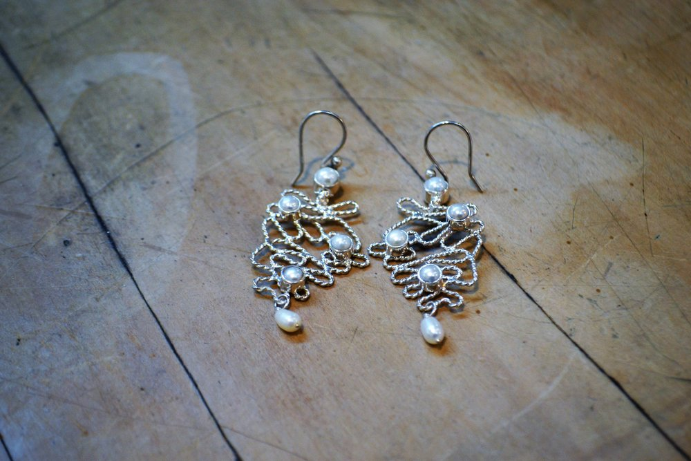 Pearl Relax Twist Earrings  Old World Collection #39, Pearl and 925 sterling silver  $200.00