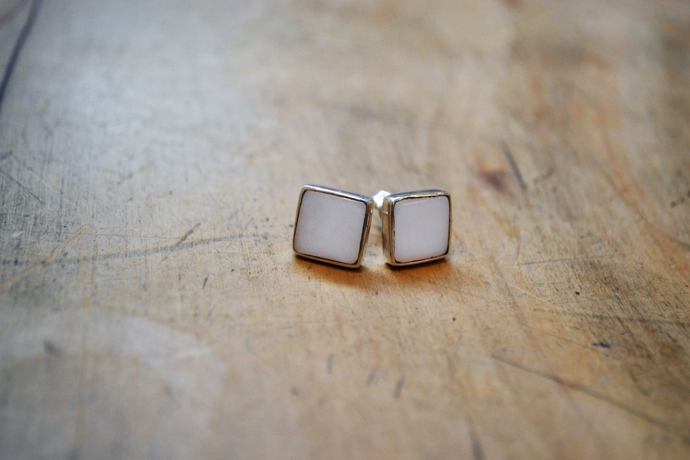 Moonstone Square Stud  Old World Collection, Moonstone and 925 sterling silver  $50.00