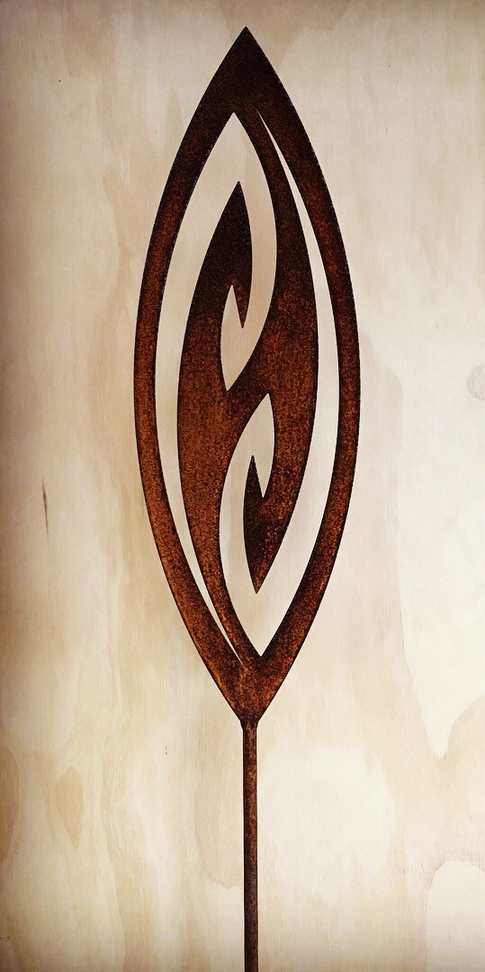 'A Rusty Affair' Corten Fish Hook (two available)  Grounded Art NZ ,  1650mm tall (400mm spear head on a 1250mm rod)  $90.00 ea