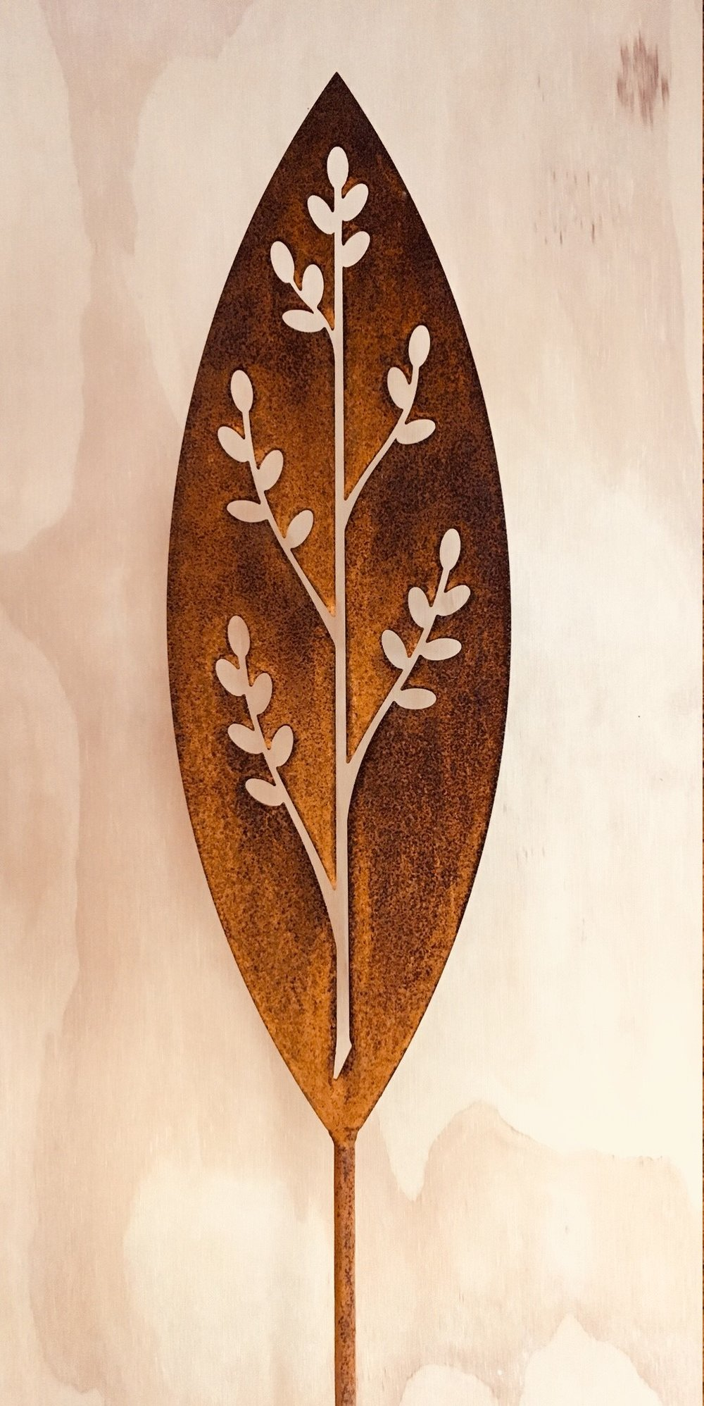 'A Rusty Affair' Corten Korokio (two available)  Grounded Art NZ ,  1650mm tall (400mm spear head on a 1250mm rod)  $90.00 ea
