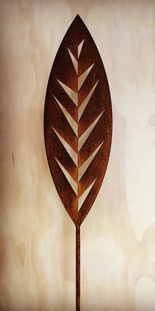 'A Rusty Affair' Corten Leaf (two available)  Grounded Art NZ ,  1650mm tall (400mm spear head on a 1250mm rod)  $90.00 ea