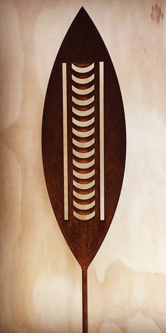 'A Rusty Affair' Corten Nikau  Grounded Art NZ ,  1650mm tall (400mm spear head on a 1250mm rod)  $95.00