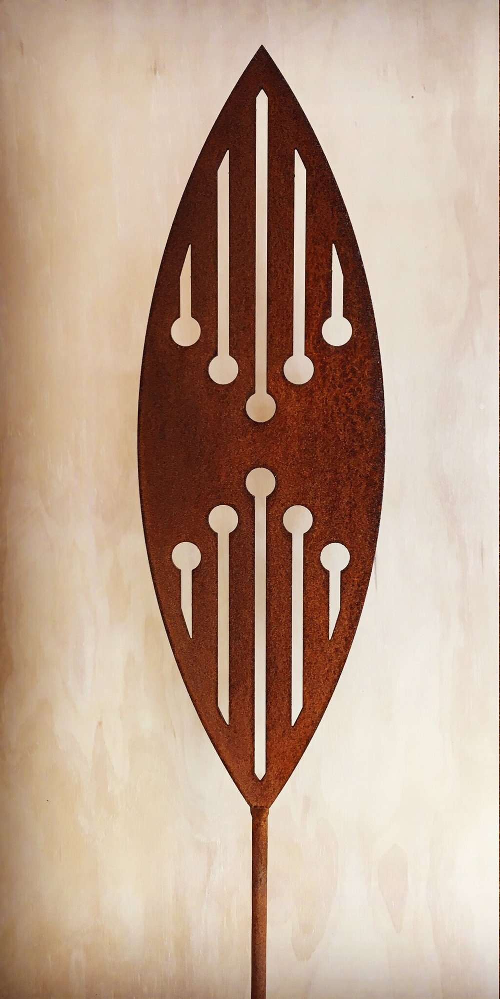 'A Rusty Affair' Corten Reflection  Grounded Art NZ ,  1650mm tall (400mm spear head on a 1250mm rod)  $95.00