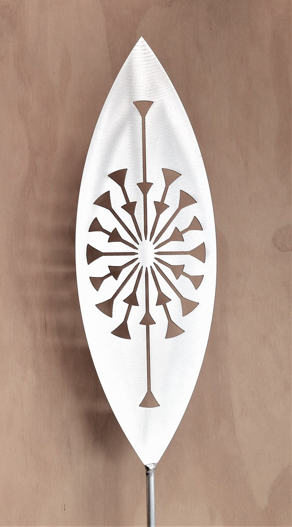 'Rise and Shine' Tohu  Grounded Art NZ, aluminium, 1650mm tall (400mm spear head on a 1250mm rod)  $90.00
