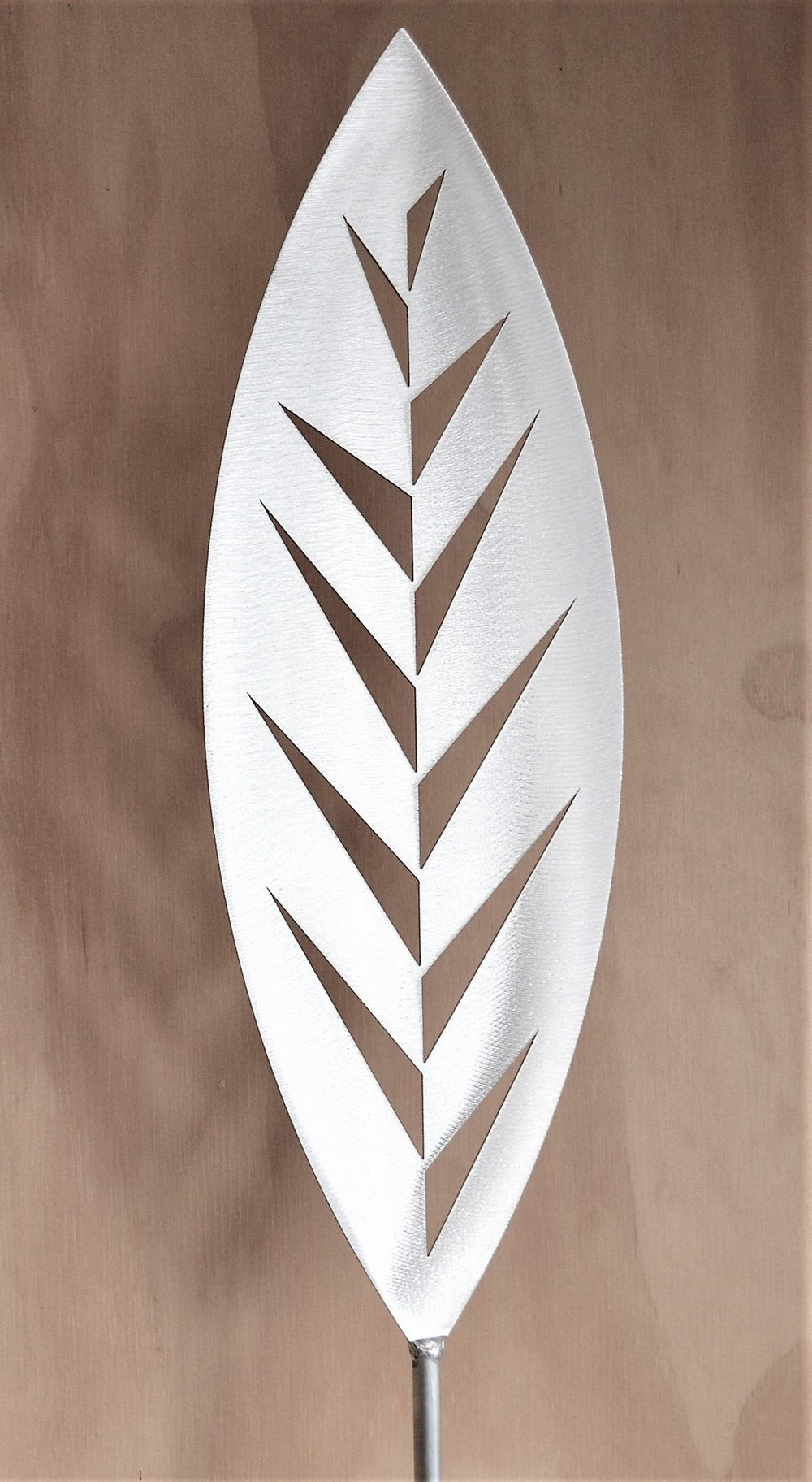 'Rise and Shine' Leaf  Grounded Art NZ, aluminium, 1650mm tall (400mm spear head on a 1250mm rod)  sold