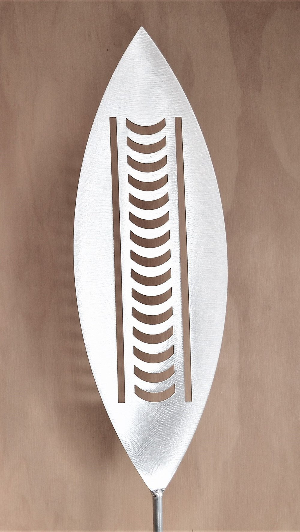 'Rise and Shine' Nikau  Grounded Art NZ, aluminium, 1650mm tall (400mm spear head on a 1250mm rod)  $95.00