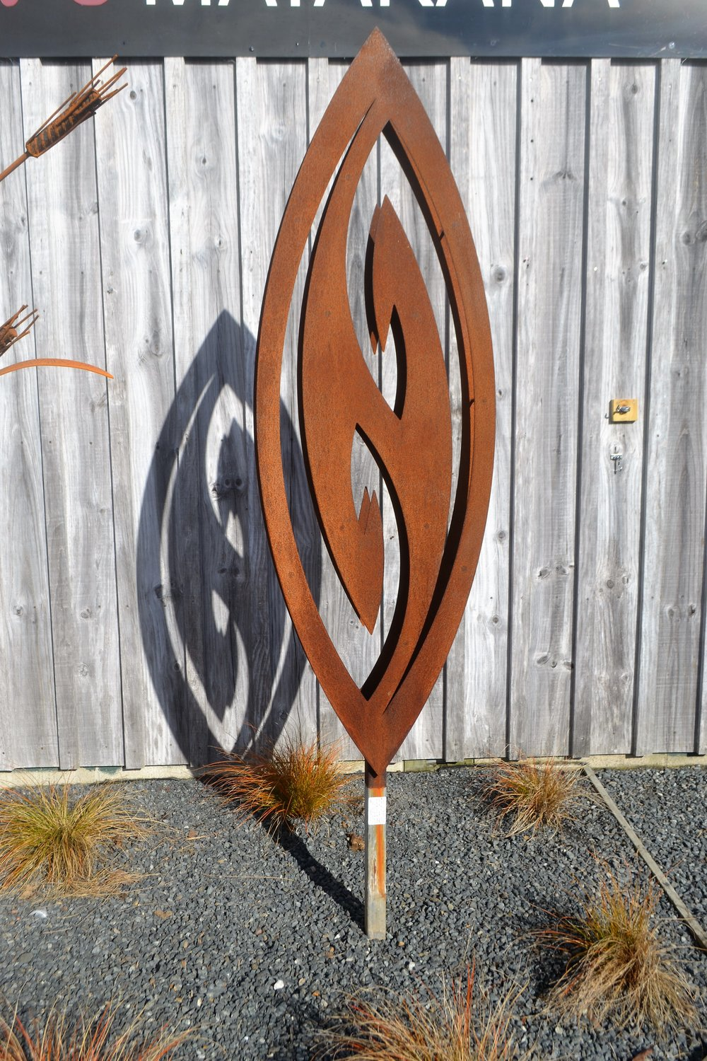 'Utterly Hooked' 3D Corten Fish Hook  Grounded Art NZ, 1800mm tall  sold