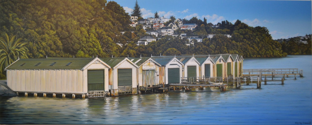 The Sheds  Shirley Cresswell, limited edition print on canvas, 1200mm x 480mm   $895.00